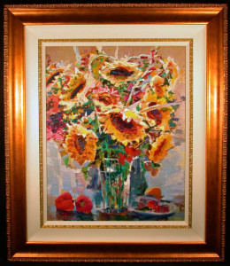 Still Life with Sunflowers by Lau Chun Framed and Lined