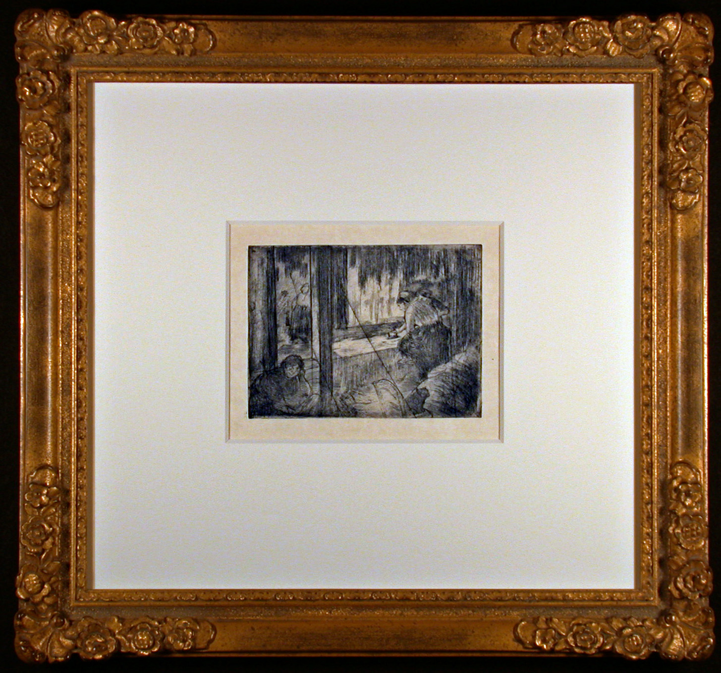The Laundresses Original Etching by Edgar Degas Framed and Matted