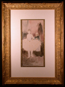 Dancer and Her Dresser Original Watercolor by Jean-Louis Forain Framed and Matted