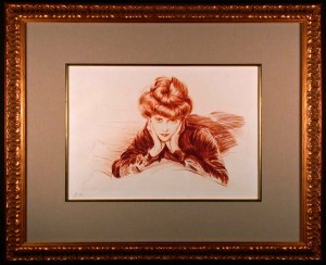 The Framed Face Original Etching by Paul Cesar Helleu Framed and Matted