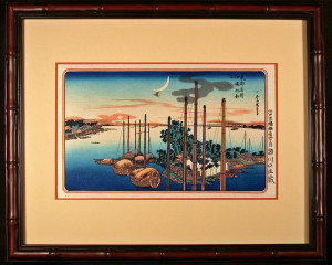 Framed and Matted First Cuckoo of the Year Over Tsukudajima Island after Ando Hiroshige