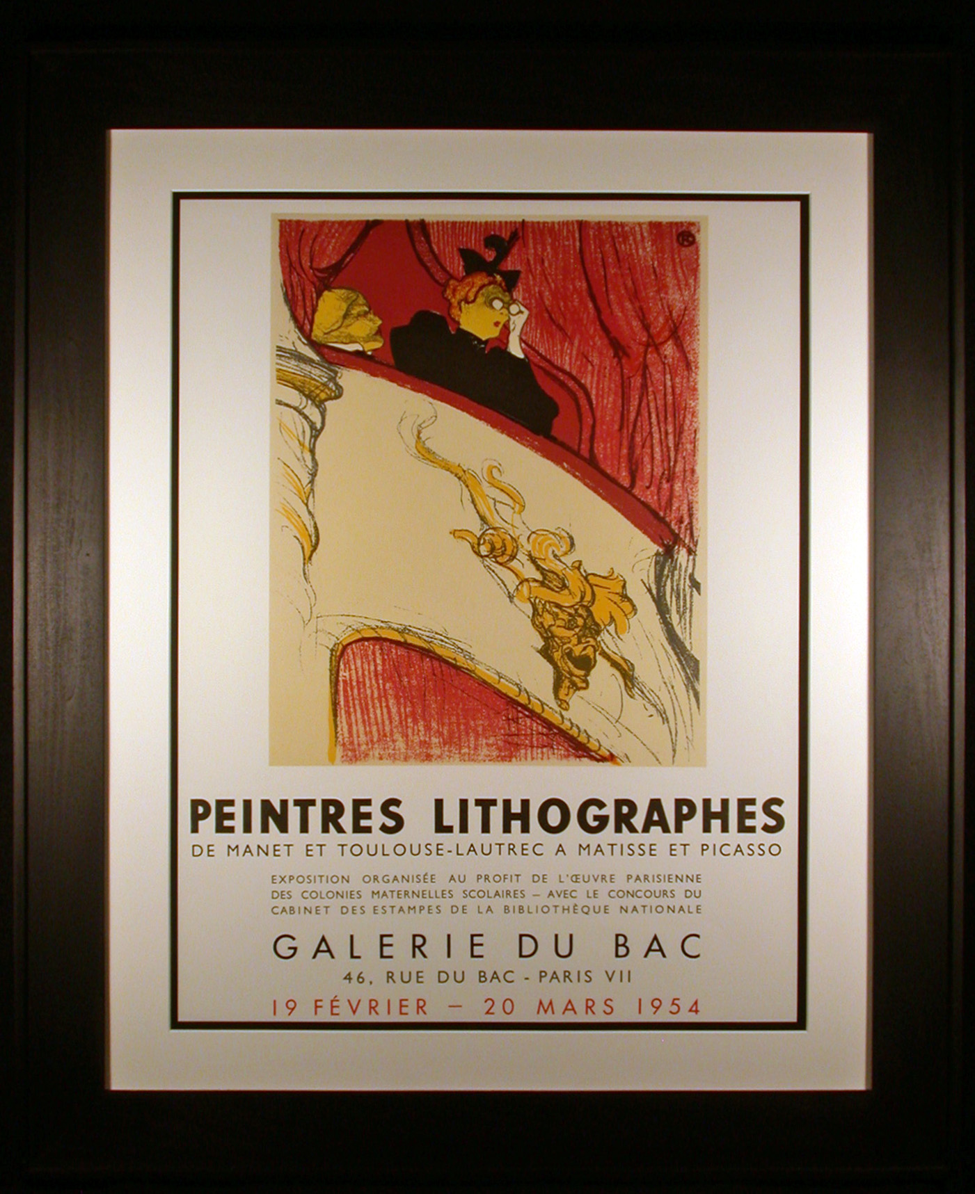 Toulouse-Lautrec Exhibit Poster from 1954 Le Missionairre Framed and Matted