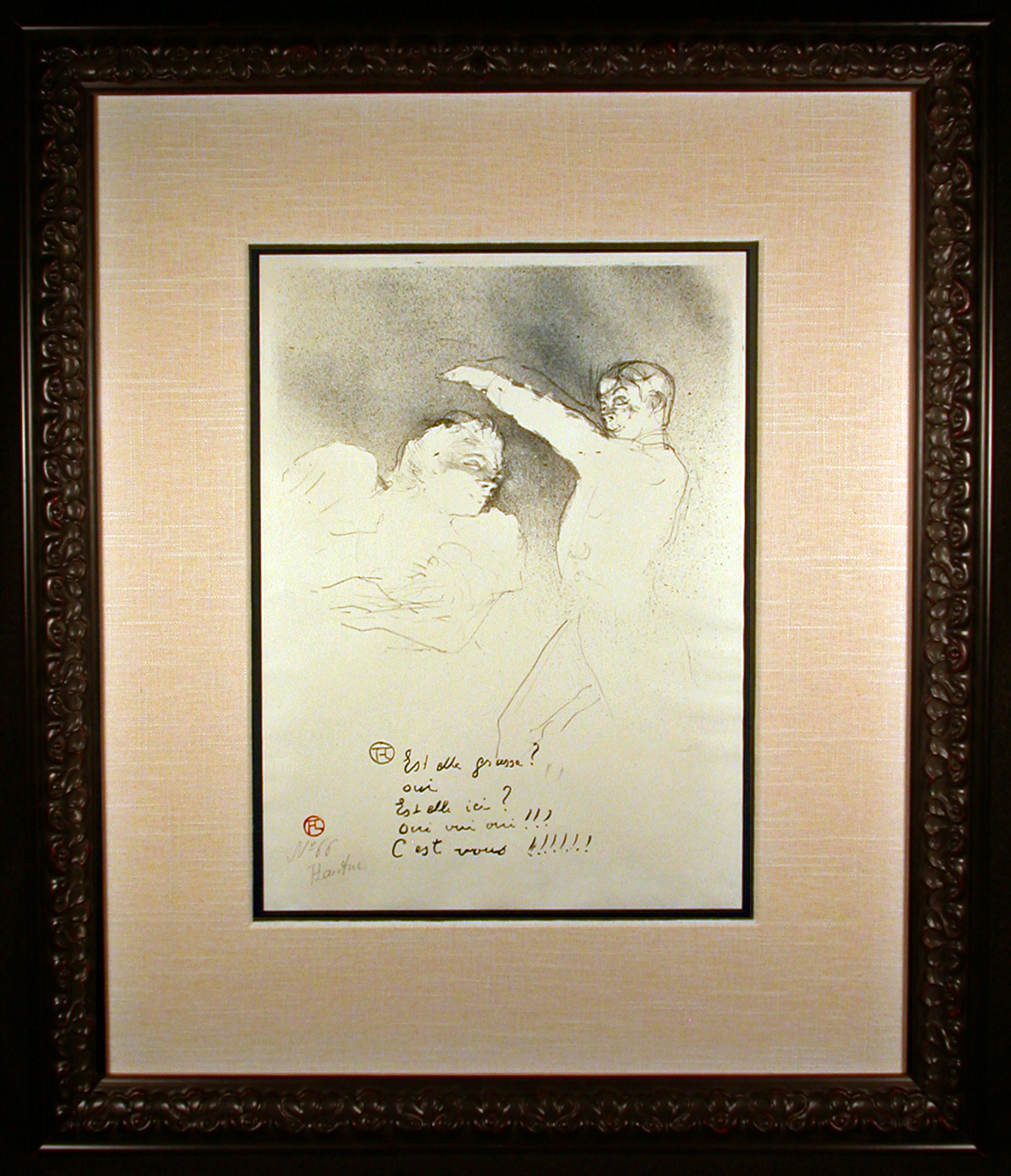 Aux Varietes Lithograph by Toulouse-Lautrec Framed and Matted