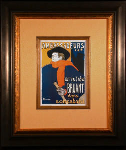 Aristide Bruant Color Lithograph after Toulouse-Lautrec Framed and Matted