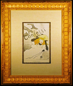 Framed and Matted Confetti Lithograph after Toulouse-Lautrec