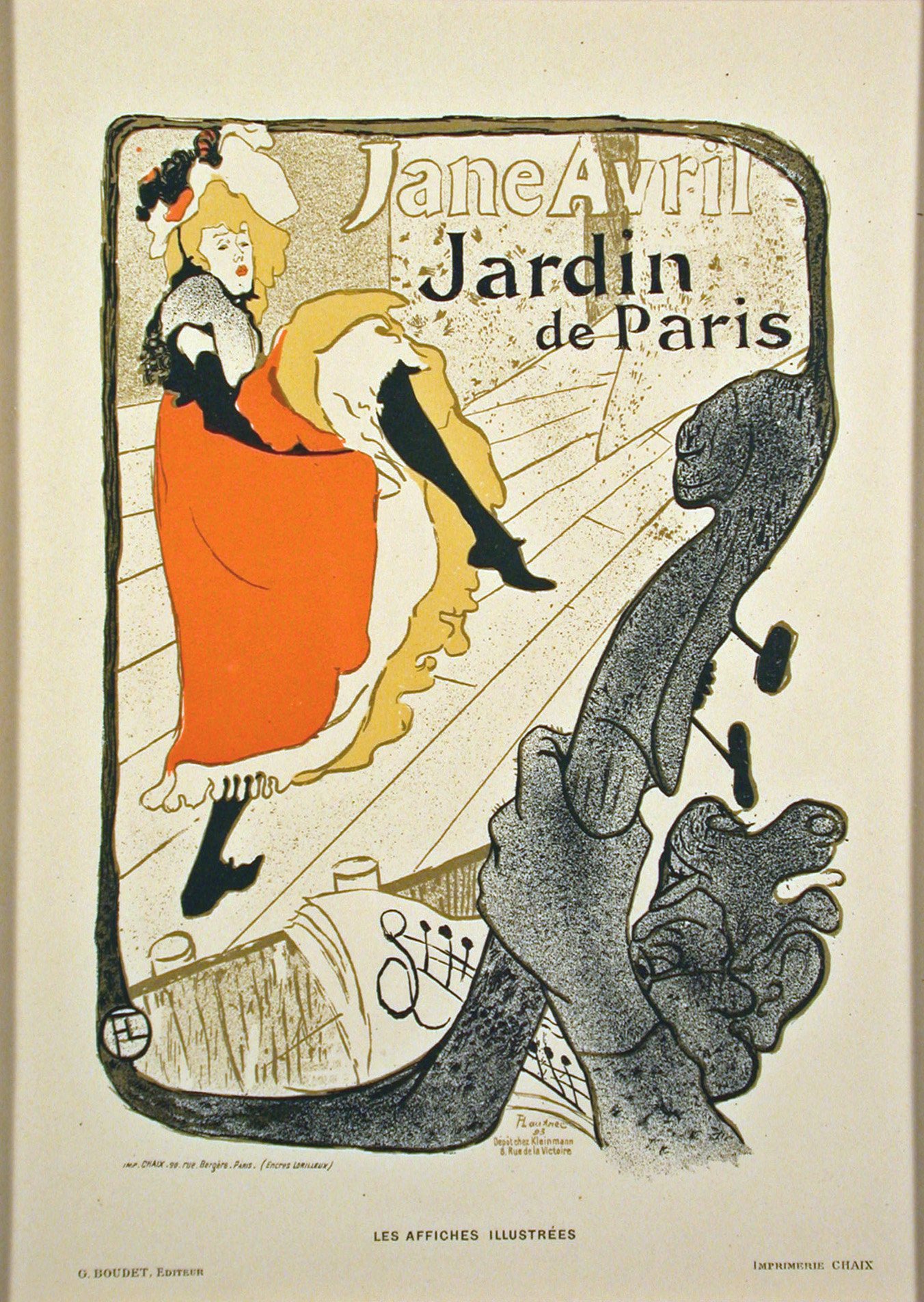 Jane avril color lithograph after toulouse lautrec from for Jardin de paris jane avril
