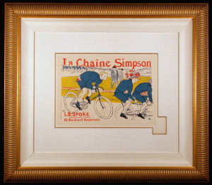 Framed and Matted La Chaine Simpson Original Lithograph after Toulouse-Lautrec
