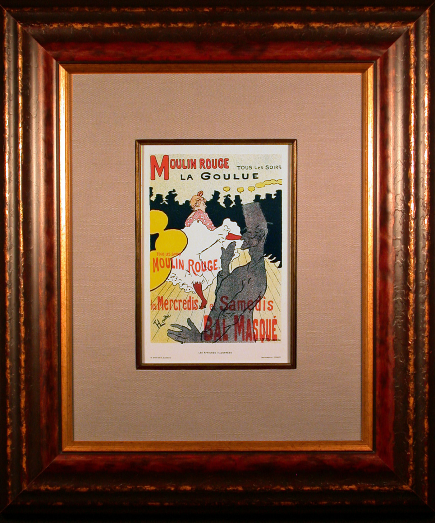 Moulin Rouge La Goulue Color Lithograph after Toulouse-Lautrec Framed and Matted