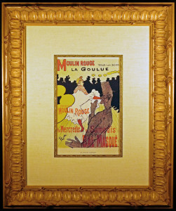 Framed and Matted Moulin Rouge Color Lithograph after Toulouse-Lautrec