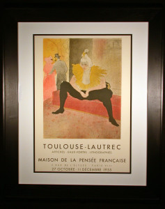 Toulouse-Lautrec Exhibit Poster from 1955 Chuacao Framed and Matted