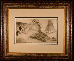 Something or Other Original Etching by Louis Legrand Framed and Matted