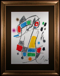 Maravillas con Variaciones Lithograph by Joan Miro Framed and Matted