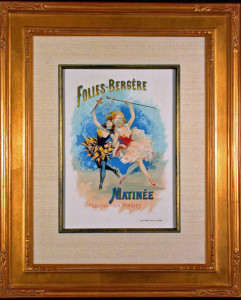 Folies Bergère Original Lithograph Framed and Matted