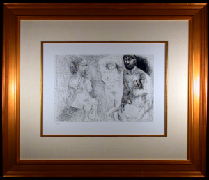Picasso Enterrenes Comtes Etching Framed and Matted