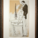 Couple, Seated with Cactus, Original Ink and Gouache by Rudolf Bauer