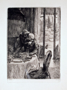 Renee Hugging Father Original Etching by James Tissot