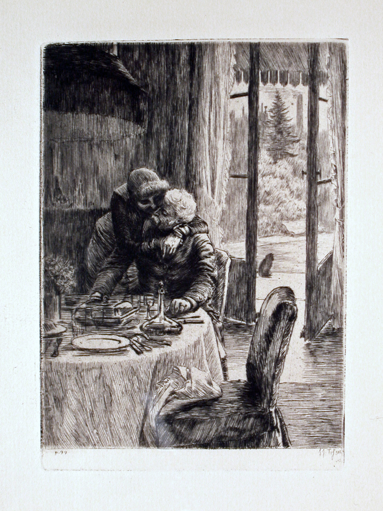 Renee Mauperin Hugging Father Framed Etching By James