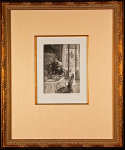 Renee Mauperin Hugging Her Father Framed Etching by James Tissot