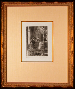 Renee Mauperin Crying at the Piano Framed Etching by James Tissot