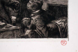 Tissot's Red Stamp Lower Right of Image Denoisel and Henri Mauperin's Rooms Original Etching