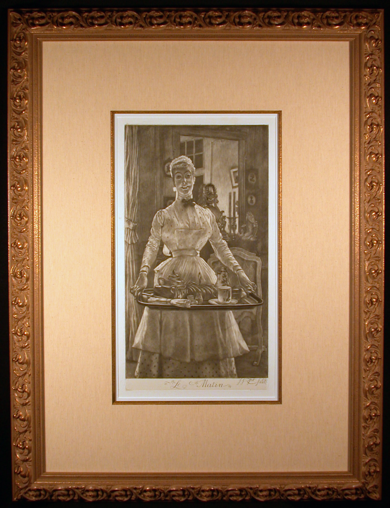 Le Matin Original Mezzotint Etching by James Tissot Framed and Matted