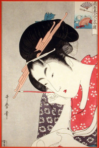 Flower Fan Japanese Print by Utagawa Utamaro
