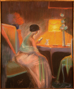 Original Pastel Woman Reading by Falcinelli
