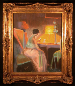 Original Pastel Woman Reading by Falcinelli in 1920's Frame
