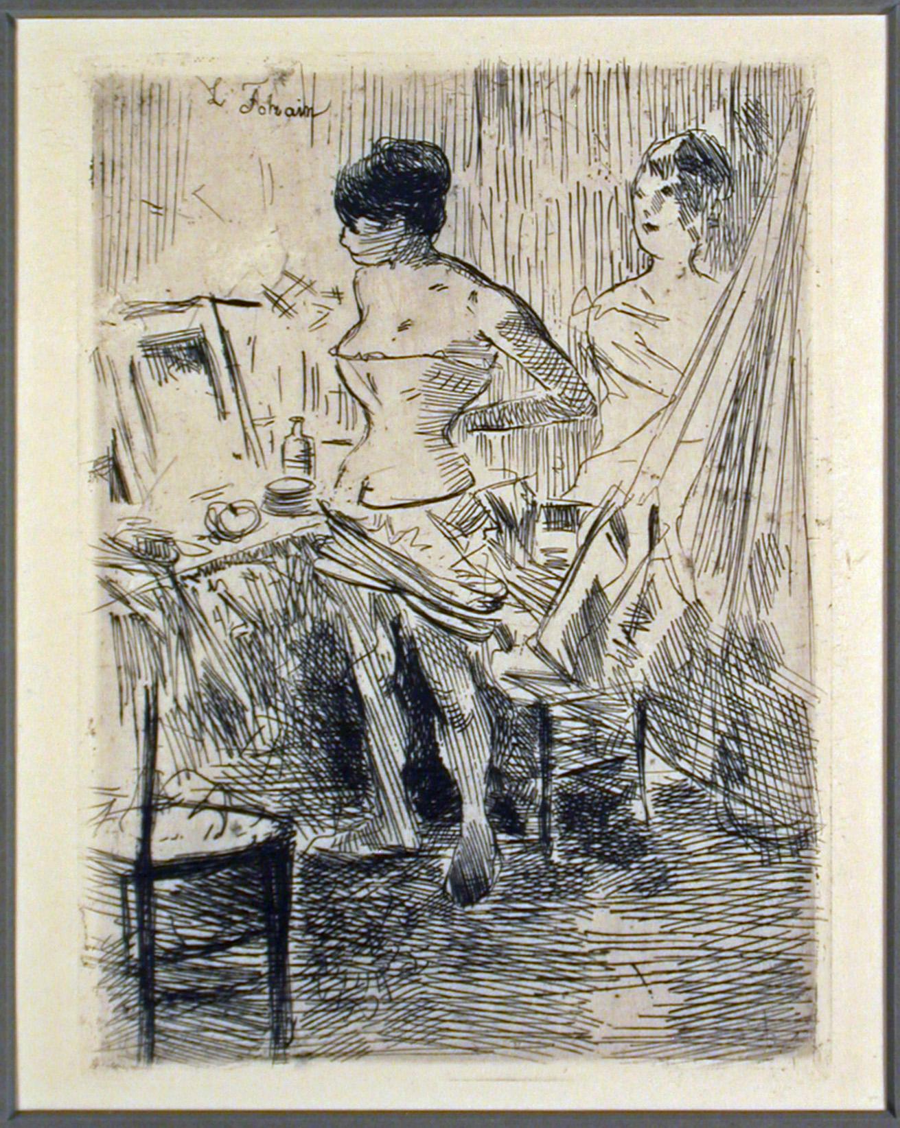 Dancers In Their Dressing Room Etching By Jean Louis